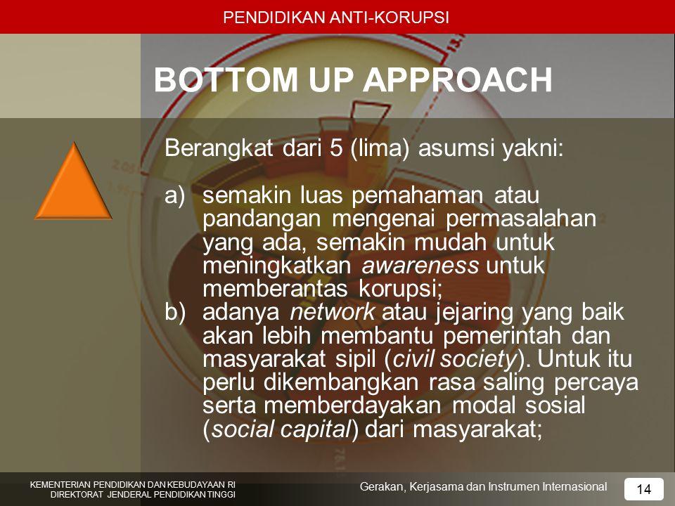BOTTOM UP APPROACH Berangkat dari 5 (lima) asumsi yakni: a)semakin luas pemahaman atau pandangan mengenai permasalahan yang ada, semakin mudah untuk m