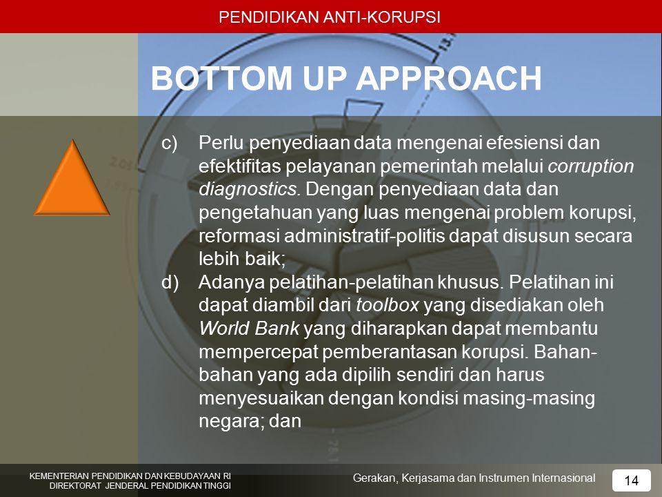 PENDIDIKAN ANTI-KORUPSI BOTTOM UP APPROACH c)Perlu penyediaan data mengenai efesiensi dan efektifitas pelayanan pemerintah melalui corruption diagnost