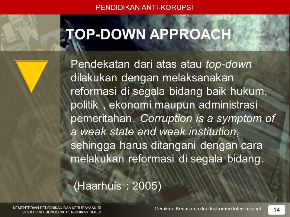 PENDIDIKAN ANTI-KORUPSI TOP-DOWN APPROACH Pendekatan dari atas atau top-down dilakukan dengan melaksanakan reformasi di segala bidang baik hukum, poli
