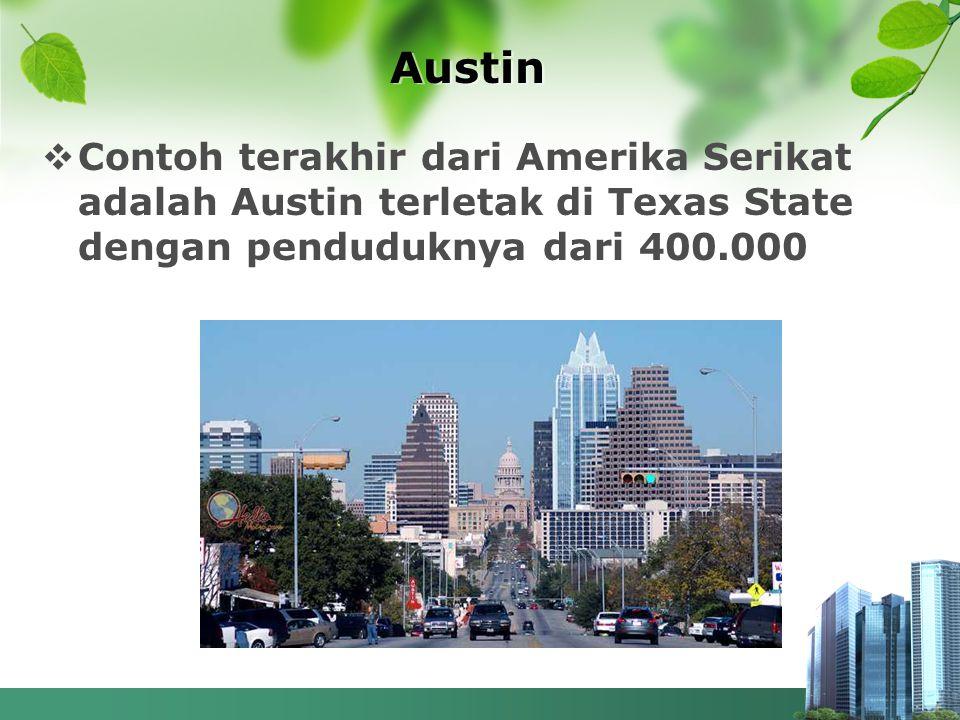 Austin  Contoh terakhir dari Amerika Serikat adalah Austin terletak di Texas State dengan penduduknya dari 400.000