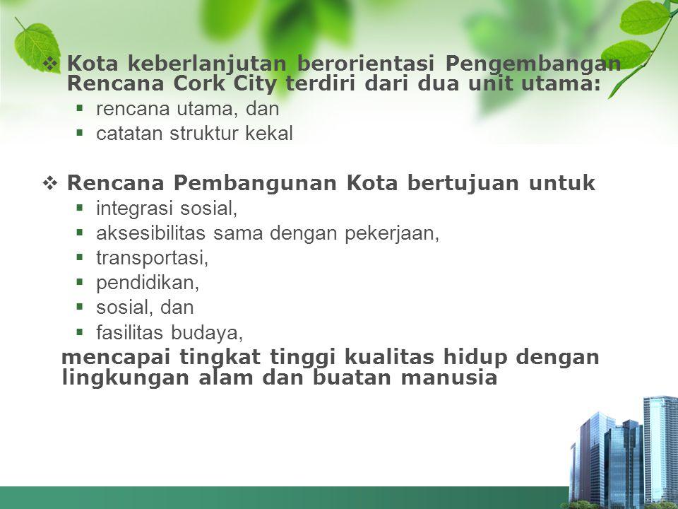  Kota keberlanjutan berorientasi Pengembangan Rencana Cork City terdiri dari dua unit utama:  rencana utama, dan  catatan struktur kekal  Rencana