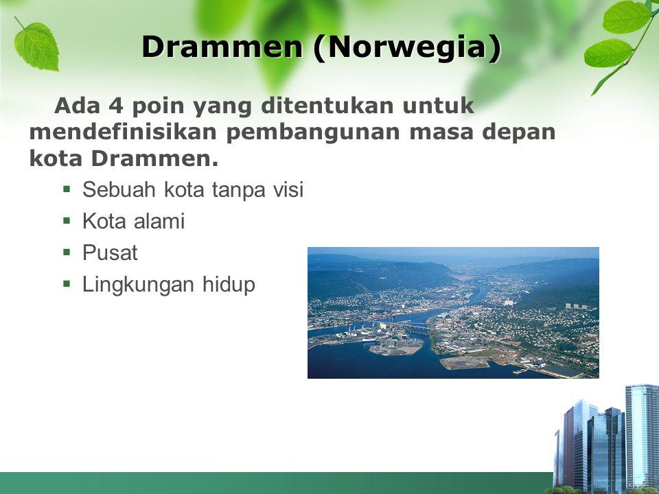 Drammen (Norwegia) Ada 4 poin yang ditentukan untuk mendefinisikan pembangunan masa depan kota Drammen.  Sebuah kota tanpa visi  Kota alami  Pusat
