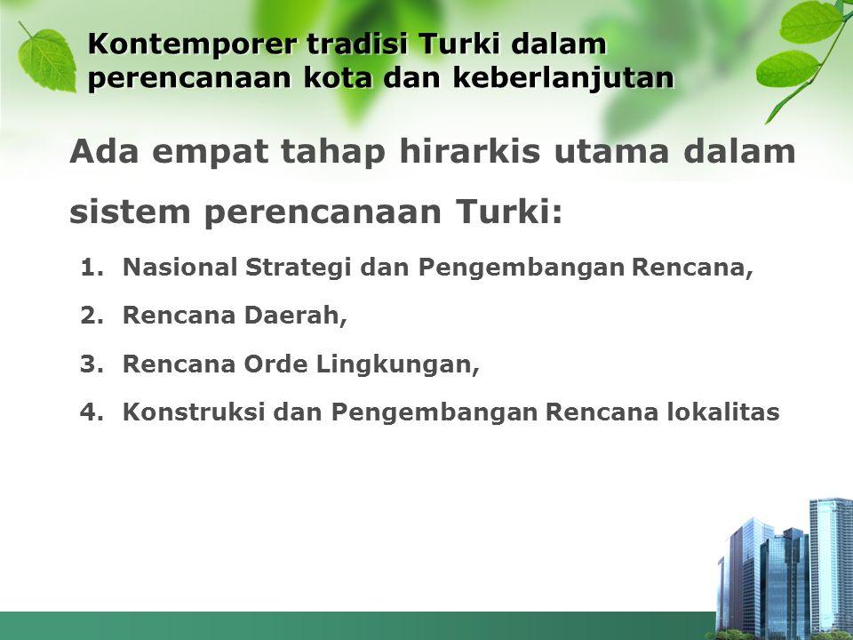 Kontemporer tradisi Turki dalam perencanaan kota dan keberlanjutan Ada empat tahap hirarkis utama dalam sistem perencanaan Turki: 1.Nasional Strategi
