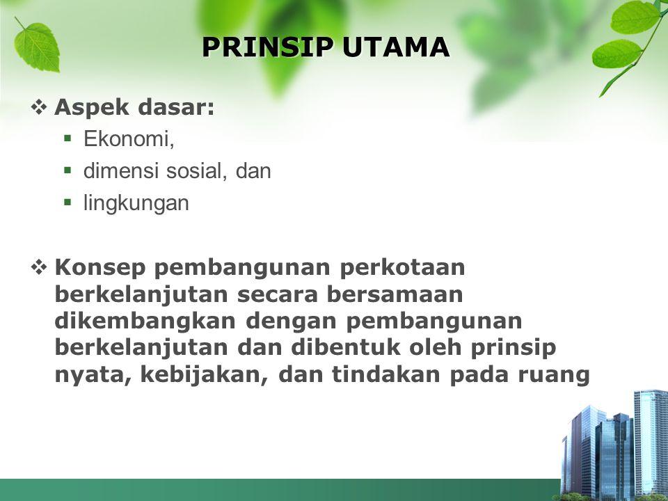 PRINSIP UTAMA  Aspek dasar:  Ekonomi,  dimensi sosial, dan  lingkungan  Konsep pembangunan perkotaan berkelanjutan secara bersamaan dikembangkan