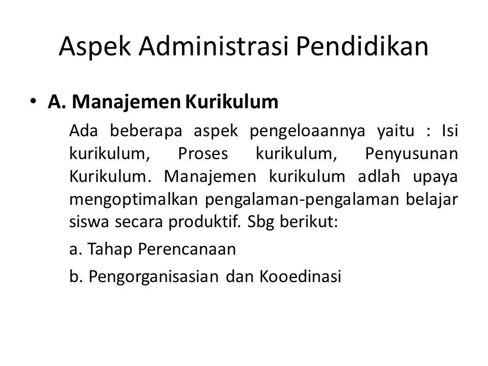 Aspek Administrasi Pendidikan A.