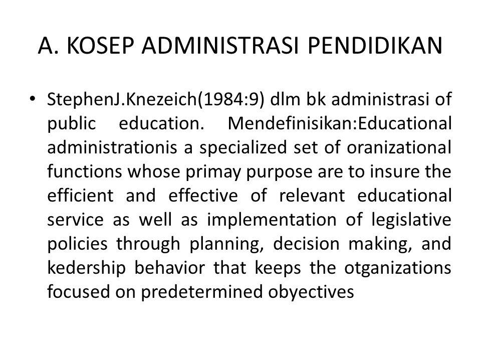 A. KOSEP ADMINISTRASI PENDIDIKAN StephenJ.Knezeich(1984:9) dlm bk administrasi of public education.