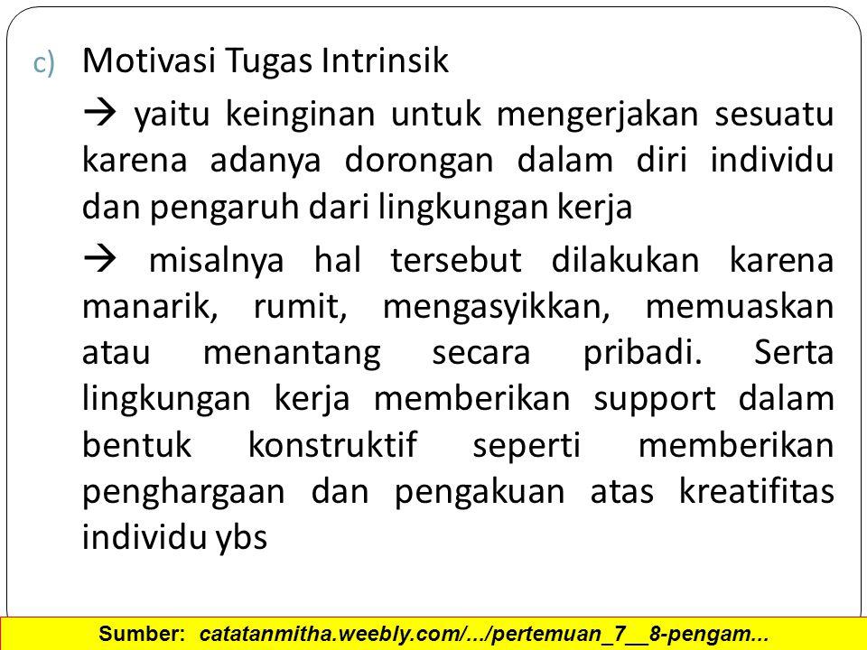 c) Motivasi Tugas Intrinsik  yaitu keinginan untuk mengerjakan sesuatu karena adanya dorongan dalam diri individu dan pengaruh dari lingkungan kerja