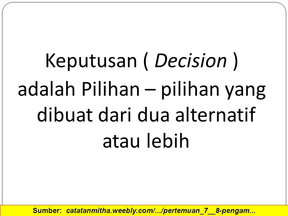 Keputusan ( Decision ) adalah Pilihan – pilihan yang dibuat dari dua alternatif atau lebih Sumber: catatanmitha.weebly.com/.../pertemuan_7__8-pengam..
