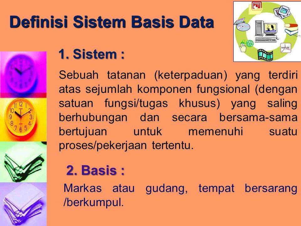 Definisi Sistem Basis Data Sebuah tatanan (keterpaduan) yang terdiri atas sejumlah komponen fungsional (dengan satuan fungsi/tugas khusus) yang saling
