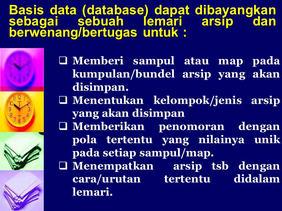 Basis data (database) dapat dibayangkan sebagai sebuah lemari arsip dan berwenang/bertugas untuk :  Memberi sampul atau map pada kumpulan/bundel arsi