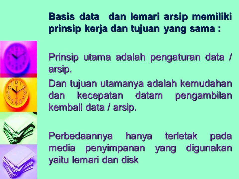 Basis data dan lemari arsip memiliki prinsip kerja dan tujuan yang sama : Prinsip utama adalah pengaturan data / arsip. Dan tujuan utamanya adalah kem