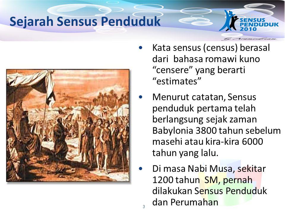 """3 Sejarah Sensus Penduduk Kata sensus (census) berasal dari bahasa romawi kuno """"censere"""" yang berarti """"estimates"""" Menurut catatan, Sensus penduduk per"""
