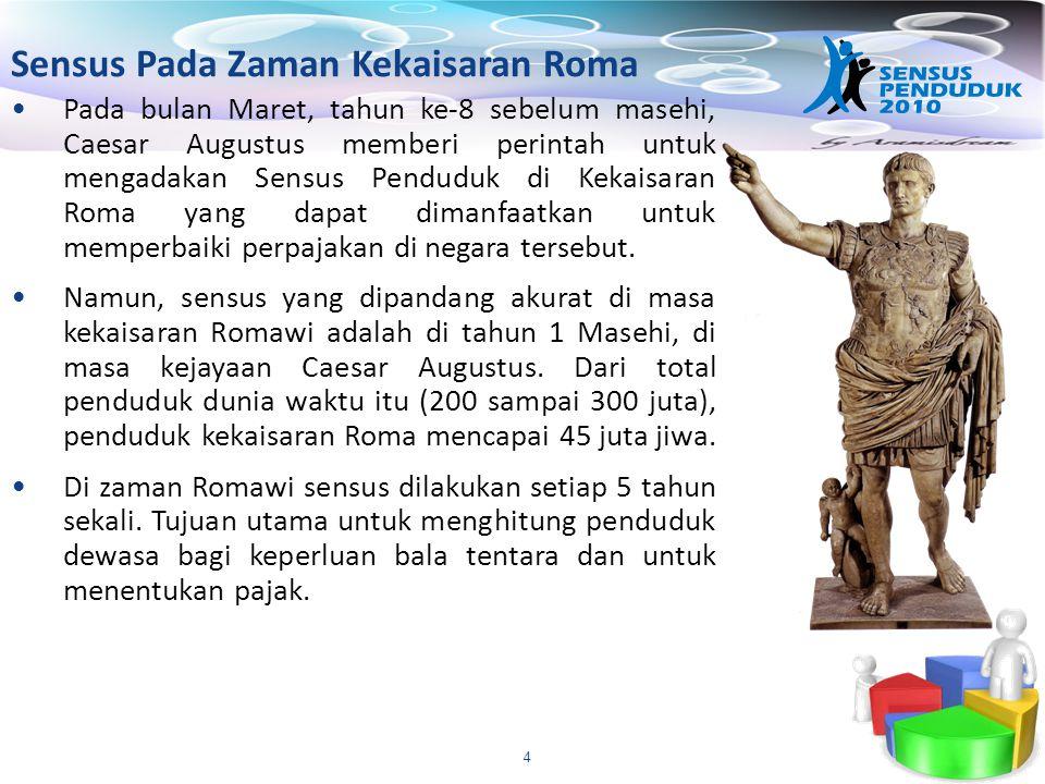 4 Sensus Pada Zaman Kekaisaran Roma Pada bulan Maret, tahun ke-8 sebelum masehi, Caesar Augustus memberi perintah untuk mengadakan Sensus Penduduk di