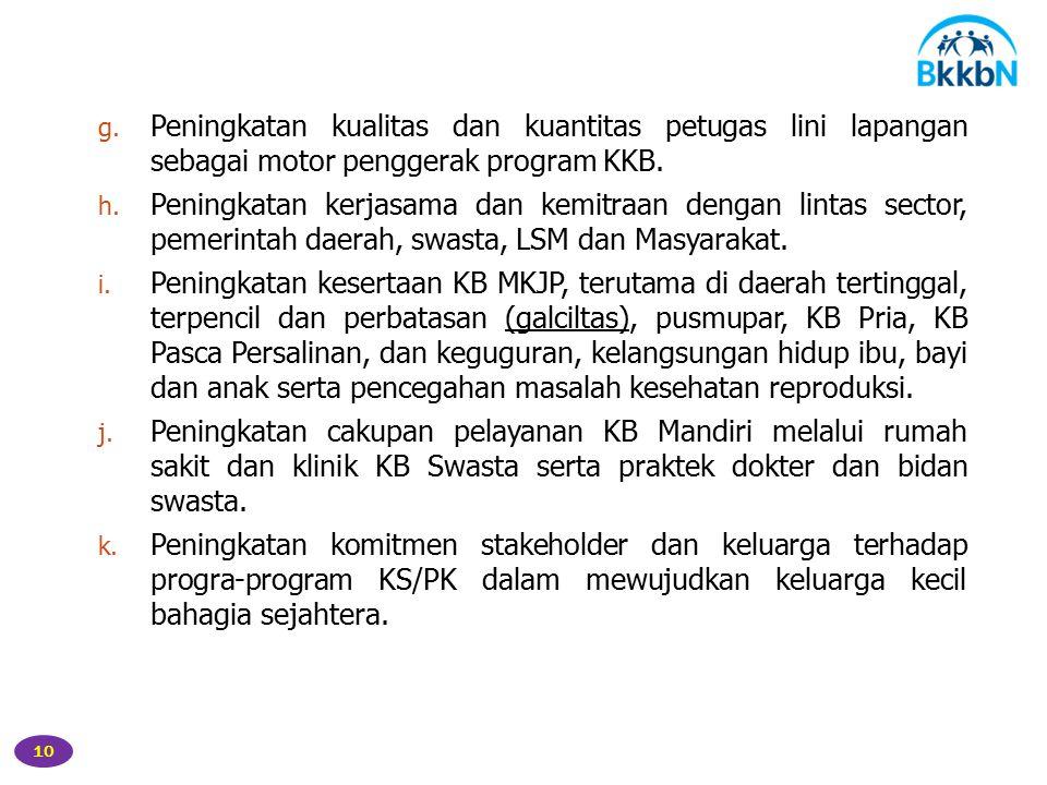 10 g.Peningkatan kualitas dan kuantitas petugas lini lapangan sebagai motor penggerak program KKB.