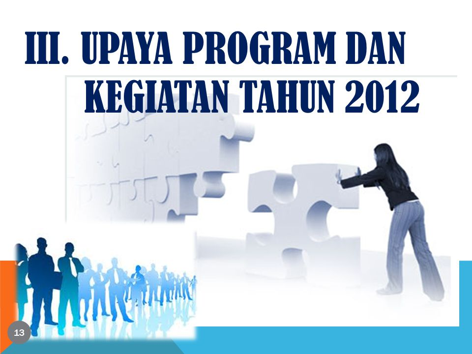 13 III. UPAYA PROGRAM DAN KEGIATAN TAHUN 2012