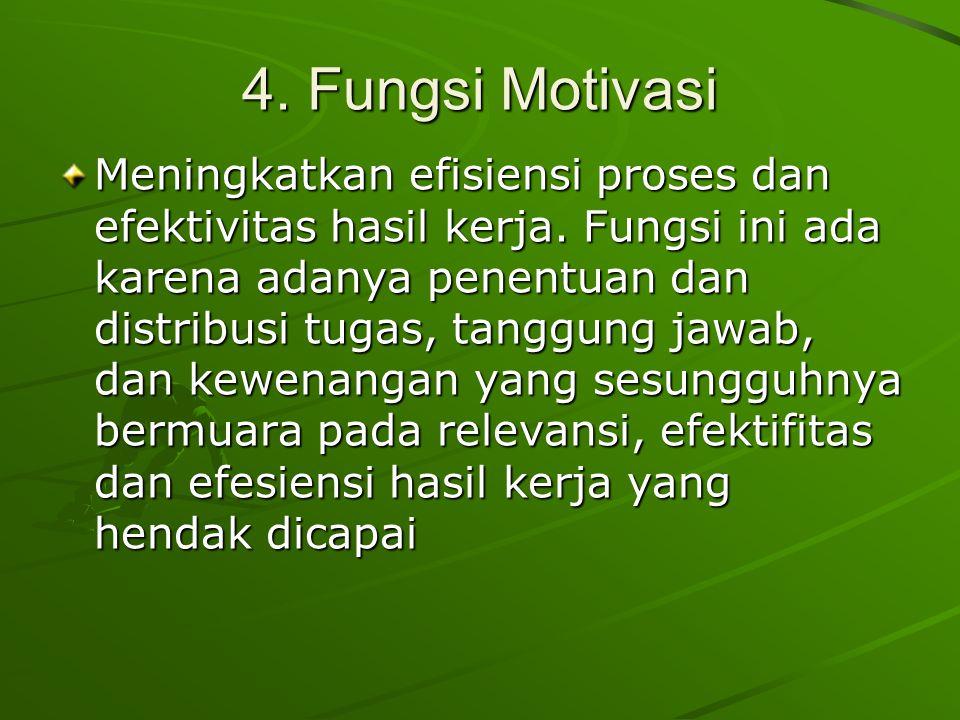4.Fungsi Motivasi Meningkatkan efisiensi proses dan efektivitas hasil kerja.