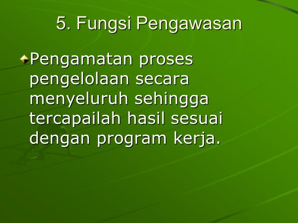 5. Fungsi Pengawasan Pengamatan proses pengelolaan secara menyeluruh sehingga tercapailah hasil sesuai dengan program kerja.