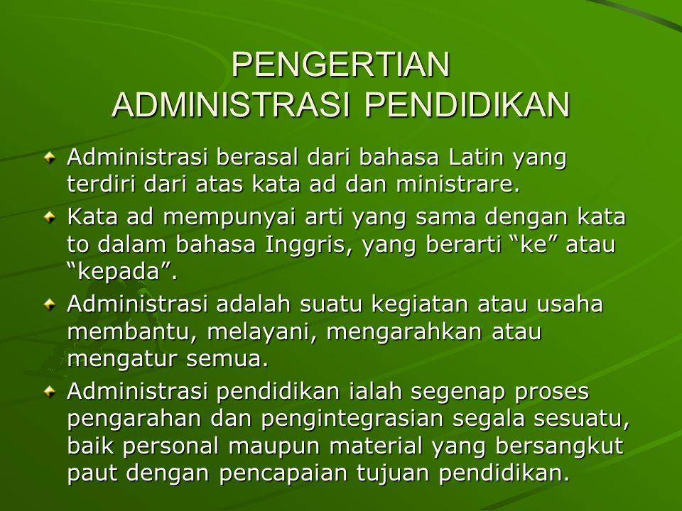 PENGERTIAN ADMINISTRASI PENDIDIKAN Administrasi berasal dari bahasa Latin yang terdiri dari atas kata ad dan ministrare.