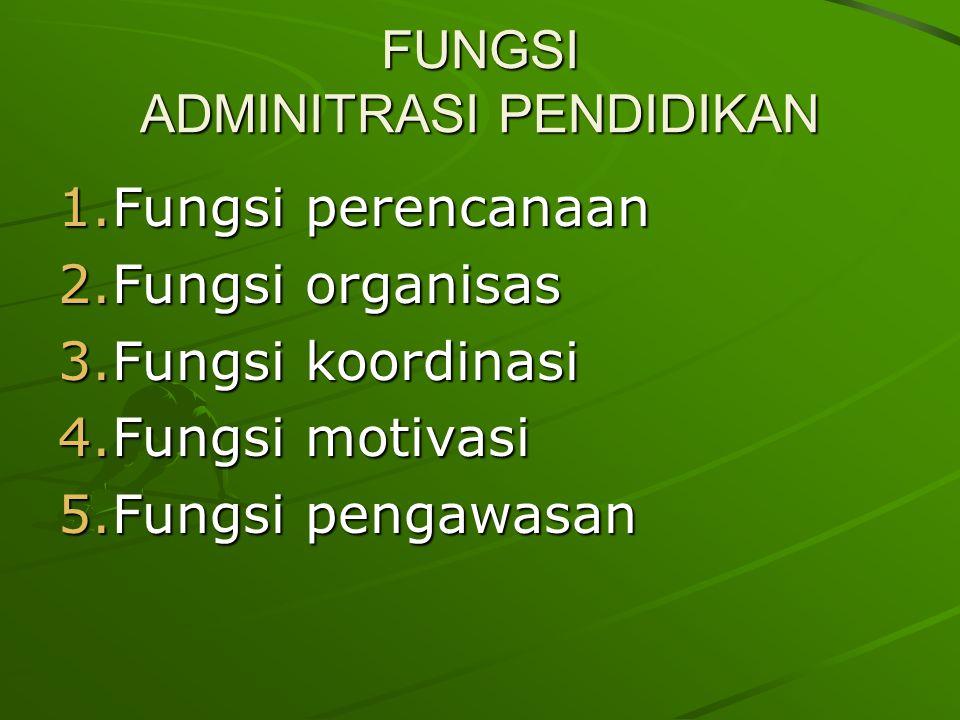 FUNGSI ADMINITRASI PENDIDIKAN 1.Fungsi perencanaan 2.Fungsi organisas 3.Fungsi koordinasi 4.Fungsi motivasi 5.Fungsi pengawasan