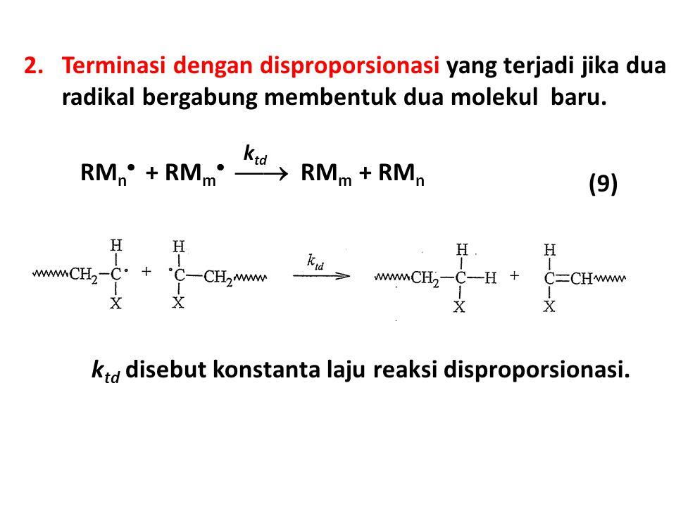2.Terminasi dengan disproporsionasi yang terjadi jika dua radikal bergabung membentuk dua molekul baru. RM n  + RM m   RM m + RM n k td (9) k td d