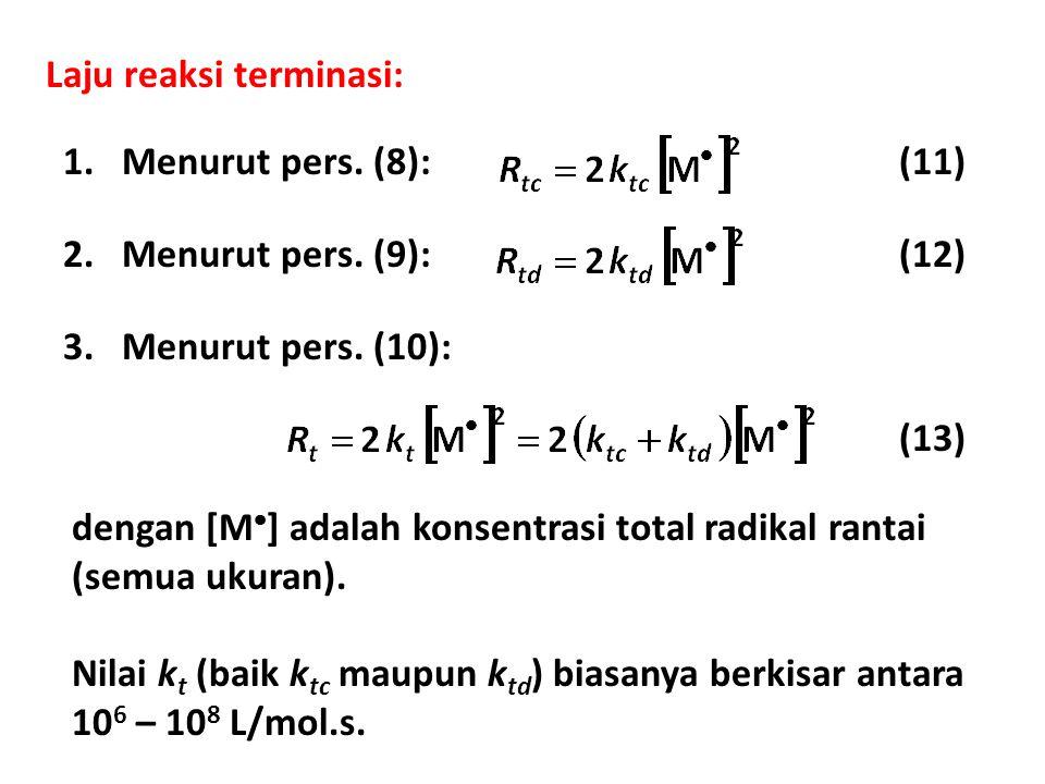 Laju reaksi terminasi: 1.Menurut pers. (8):(11) 2.Menurut pers. (9):(12) 3.Menurut pers. (10): (13) dengan [M  ] adalah konsentrasi total radikal ran