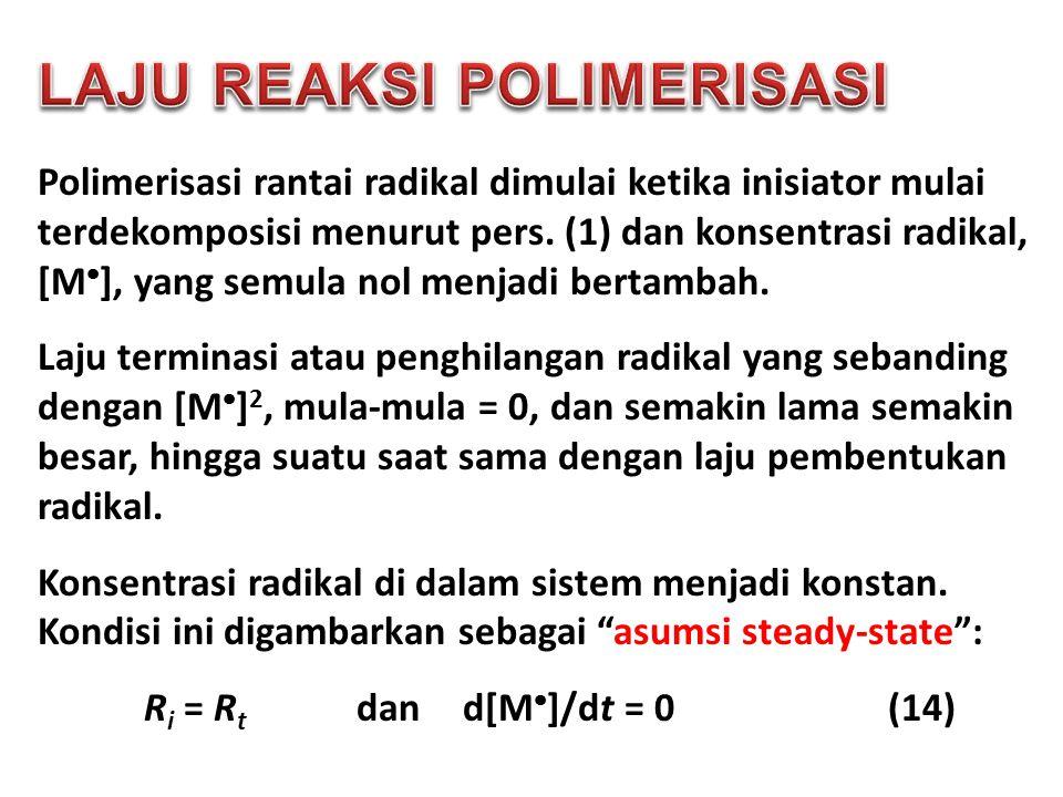 Polimerisasi rantai radikal dimulai ketika inisiator mulai terdekomposisi menurut pers. (1) dan konsentrasi radikal, [M  ], yang semula nol menjadi b