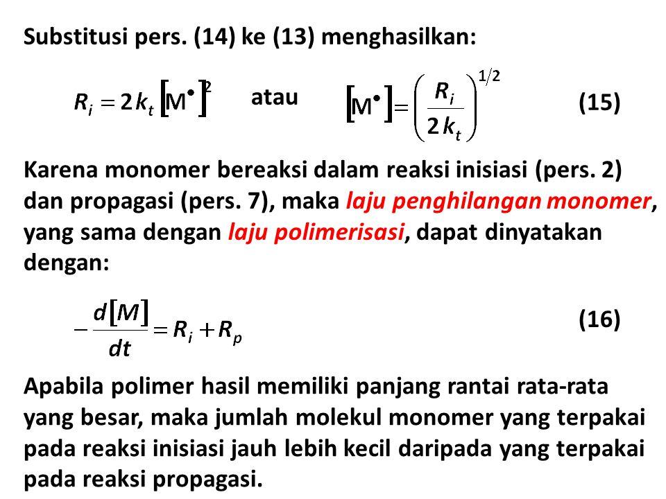 Substitusi pers. (14) ke (13) menghasilkan: (15) atau Karena monomer bereaksi dalam reaksi inisiasi (pers. 2) dan propagasi (pers. 7), maka laju pengh