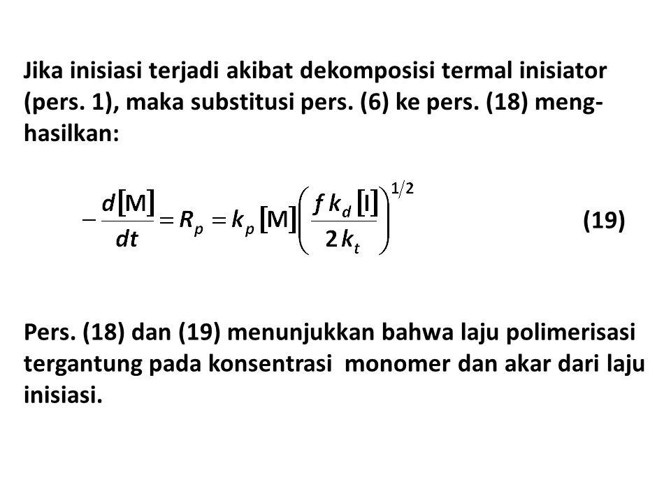 Jika inisiasi terjadi akibat dekomposisi termal inisiator (pers. 1), maka substitusi pers. (6) ke pers. (18) meng- hasilkan: (19) Pers. (18) dan (19)
