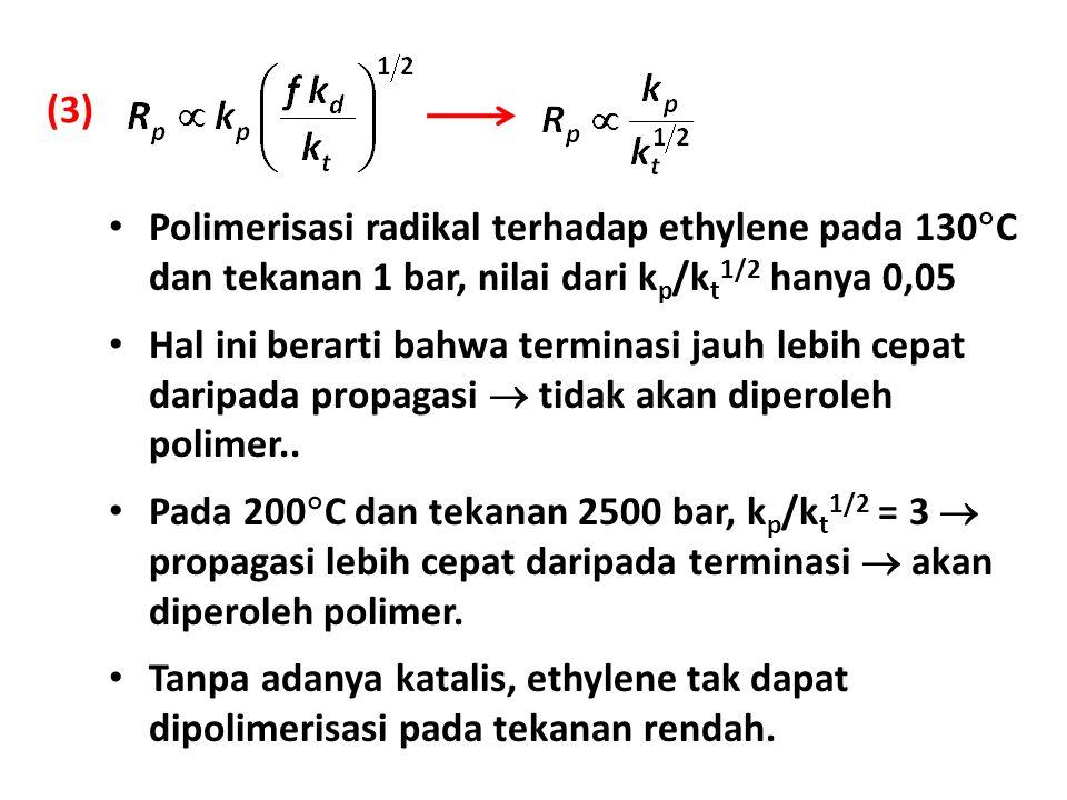 (3) Polimerisasi radikal terhadap ethylene pada 130  C dan tekanan 1 bar, nilai dari k p /k t 1/2 hanya 0,05 Hal ini berarti bahwa terminasi jauh leb