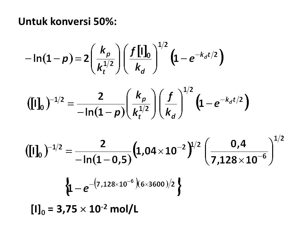 Untuk konversi 50%: [I] 0 = 3,75  10 -2 mol/L