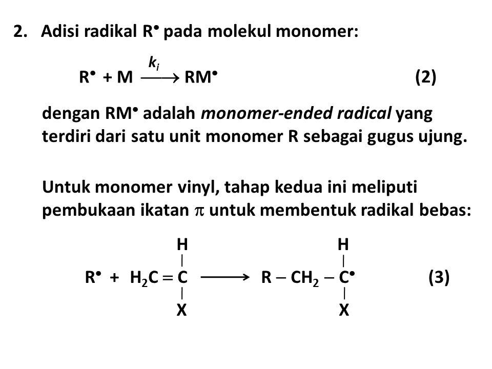 R  + M  RM  kiki 2.Adisi radikal R  pada molekul monomer: (2) dengan RM  adalah monomer-ended radical yang terdiri dari satu unit monomer R seba