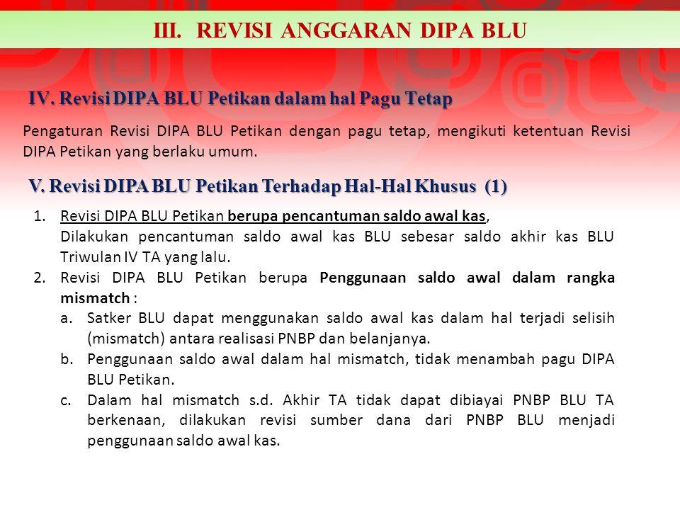 IV. Revisi DIPA BLU Petikan dalam hal Pagu Tetap Pengaturan Revisi DIPA BLU Petikan dengan pagu tetap, mengikuti ketentuan Revisi DIPA Petikan yang be
