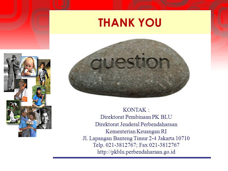 THANK YOU KONTAK : Direktorat Pembinaan PK BLU Direktorat Jenderal Perbendaharaan Kementerian Keuangan RI Jl. Lapangan Banteng Timur 2-4 Jakarta 10710