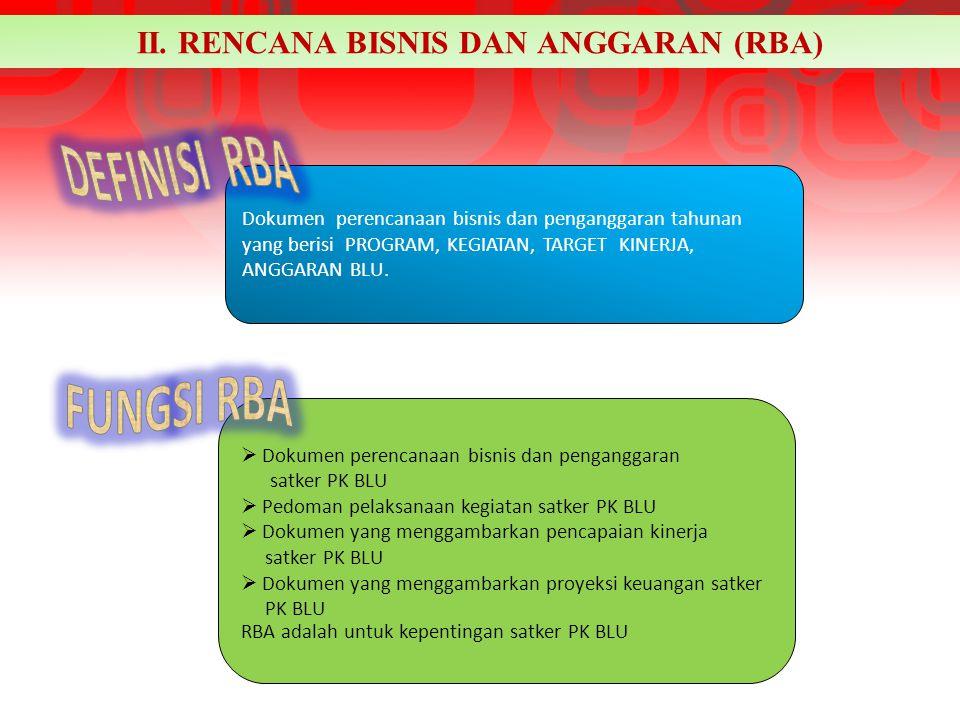 II. RENCANA BISNIS DAN ANGGARAN (RBA) Dokumen perencanaan bisnis dan penganggaran tahunan yang berisi PROGRAM, KEGIATAN, TARGET KINERJA, ANGGARAN BLU.