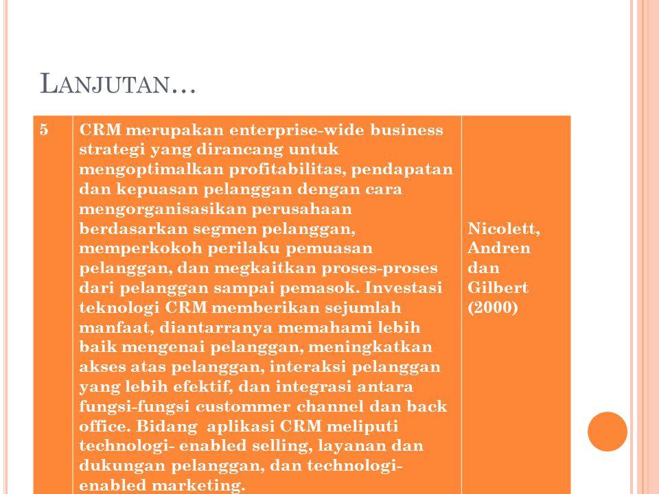 L ANJUTAN … 5CRM merupakan enterprise-wide business strategi yang dirancang untuk mengoptimalkan profitabilitas, pendapatan dan kepuasan pelanggan dengan cara mengorganisasikan perusahaan berdasarkan segmen pelanggan, memperkokoh perilaku pemuasan pelanggan, dan megkaitkan proses-proses dari pelanggan sampai pemasok.
