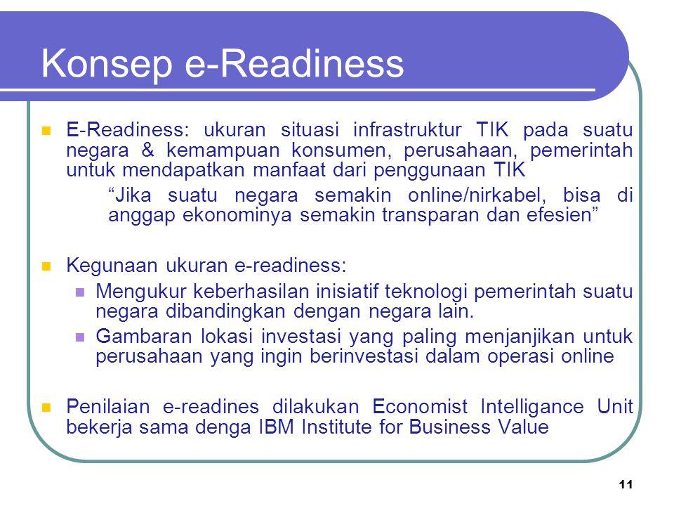 Konsep e-Readiness E-Readiness: ukuran situasi infrastruktur TIK pada suatu negara & kemampuan konsumen, perusahaan, pemerintah untuk mendapatkan manf