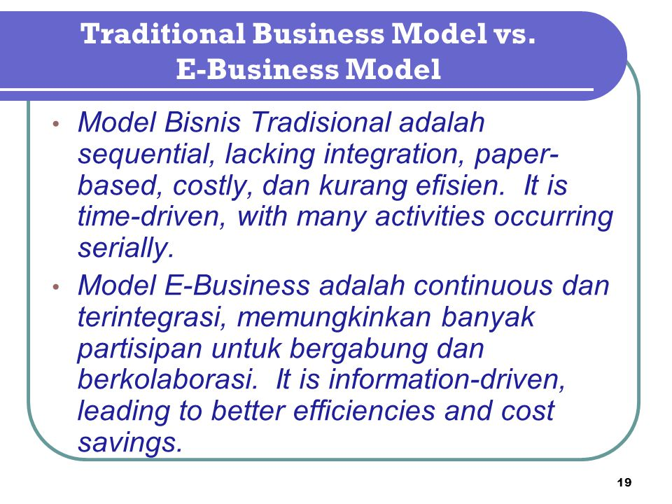 Traditional Business Model vs.