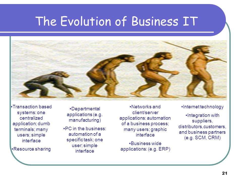 The Evolution of Business IT Departmental applications (e.g. manufacturing) PC in the business: automation of a specific task; one user; simple interf