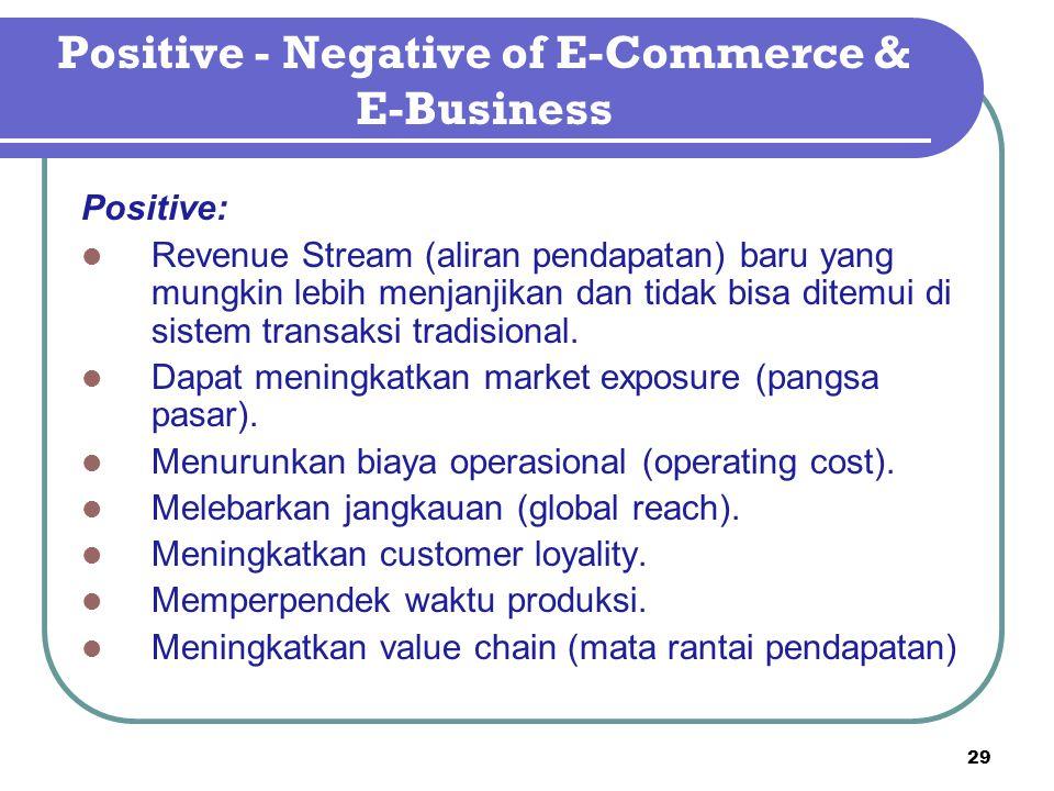 Positive - Negative of E-Commerce & E-Business Positive: Revenue Stream (aliran pendapatan) baru yang mungkin lebih menjanjikan dan tidak bisa ditemui