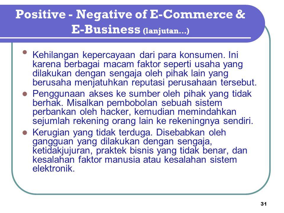 Positive - Negative of E-Commerce & E-Business (lanjutan…) Kehilangan kepercayaan dari para konsumen. Ini karena berbagai macam faktor seperti usaha y