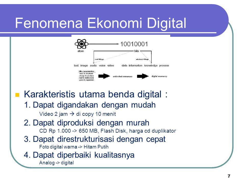 Fenomena Ekonomi Digital Karakteristis utama benda digital : 1. Dapat digandakan dengan mudah Video 2 jam  di copy 10 menit 2. Dapat diproduksi denga