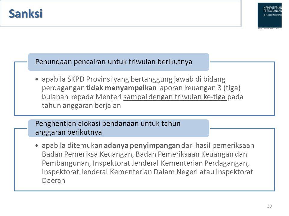 Sanksi apabila SKPD Provinsi yang bertanggung jawab di bidang perdagangan tidak menyampaikan laporan keuangan 3 (tiga) bulanan kepada Menteri sampai d
