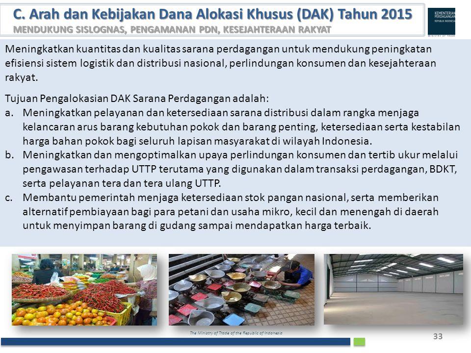 The Ministry of Trade of the Republic of Indonesia 33 C. Arah dan Kebijakan Dana Alokasi Khusus (DAK) Tahun 2015 MENDUKUNG SISLOGNAS, PENGAMANAN PDN,