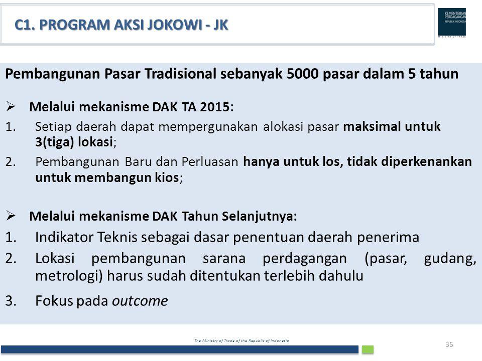 The Ministry of Trade of the Republic of Indonesia C1. PROGRAM AKSI JOKOWI - JK Pembangunan Pasar Tradisional sebanyak 5000 pasar dalam 5 tahun  Mela
