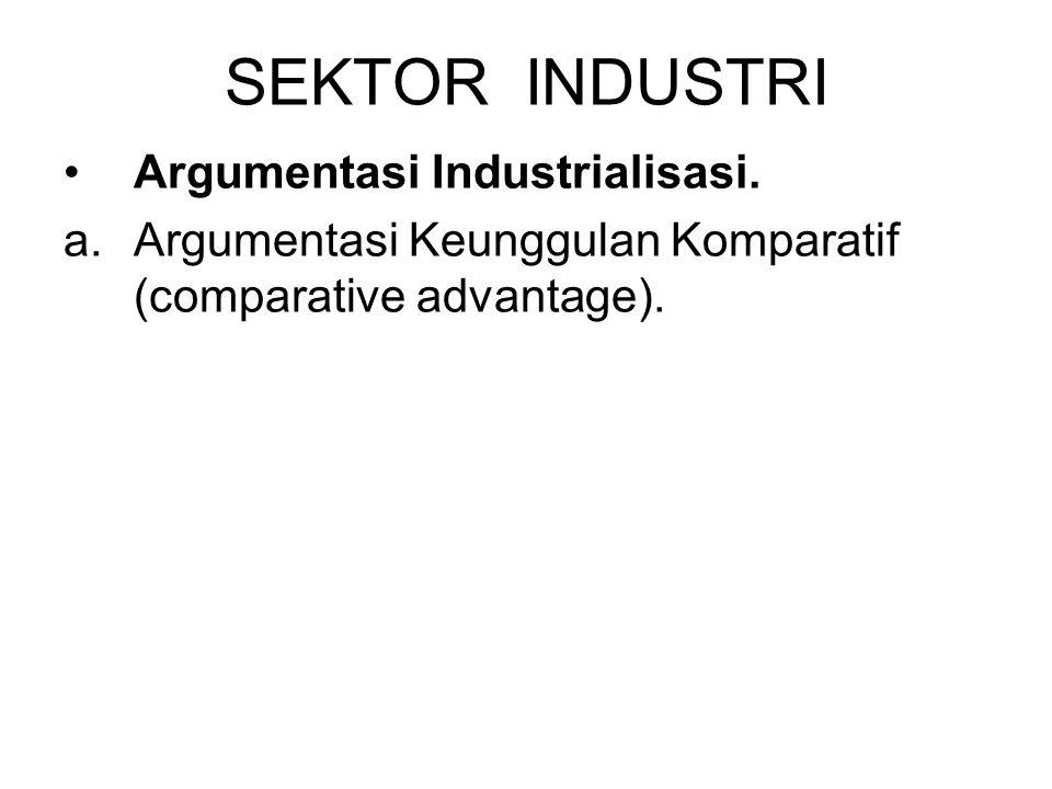 SEKTOR INDUSTRI Argumentasi Industrialisasi. a.Argumentasi Keunggulan Komparatif (comparative advantage).