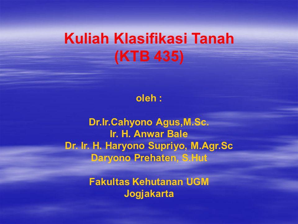 Kuliah Klasifikasi Tanah (KTB 435) oleh : Dr.Ir.Cahyono Agus,M.Sc.