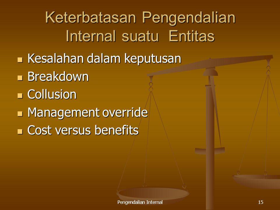 Pengendalian Internal15 Keterbatasan Pengendalian Internal suatu Entitas Kesalahan dalam keputusan Kesalahan dalam keputusan Breakdown Breakdown Collu