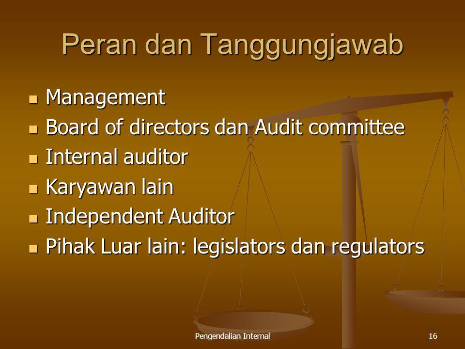 Pengendalian Internal16 Peran dan Tanggungjawab Management Management Board of directors dan Audit committee Board of directors dan Audit committee In
