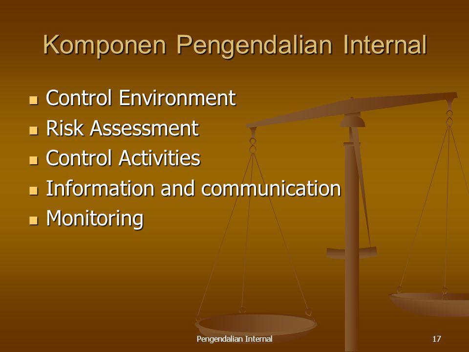 Pengendalian Internal17 Komponen Pengendalian Internal Control Environment Control Environment Risk Assessment Risk Assessment Control Activities Cont