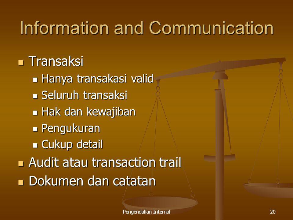 Pengendalian Internal20 Information and Communication Transaksi Transaksi Hanya transakasi valid Hanya transakasi valid Seluruh transaksi Seluruh tran